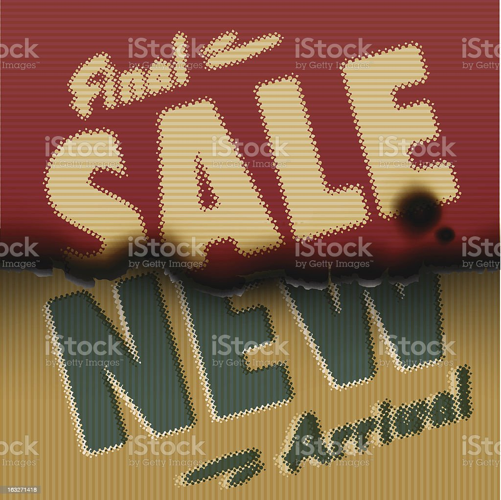 Final Sale, New Arrival - vintage burned paper template royalty-free stock vector art