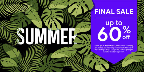 Final sale up to 60% off Green tropical leaves on a black background. vector art illustration