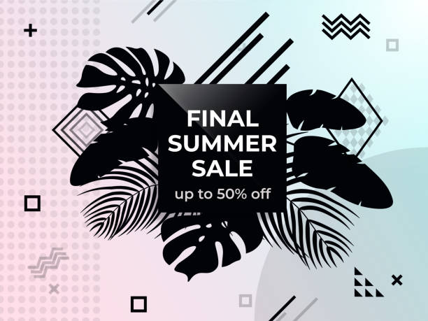 Final summer sale. Abstract background. Black and white web banner. vector art illustration