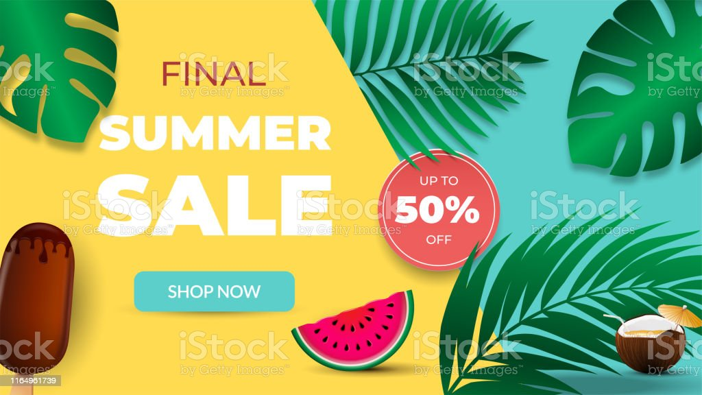 Final summer sale banner. Template for banners, wallpaper, flyers,...