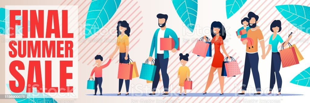Final Summer Sales Banner with Shopping People. Cartoon Happy Family...