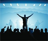 Music so good it makes you want to reach for the sky! Features various band members, a nice diverse audience, and a cool stage. All elements share the same gradient for easy color swapping.