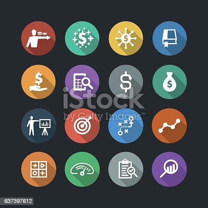 Finance and analysis flat icons. Flat design with long shadows