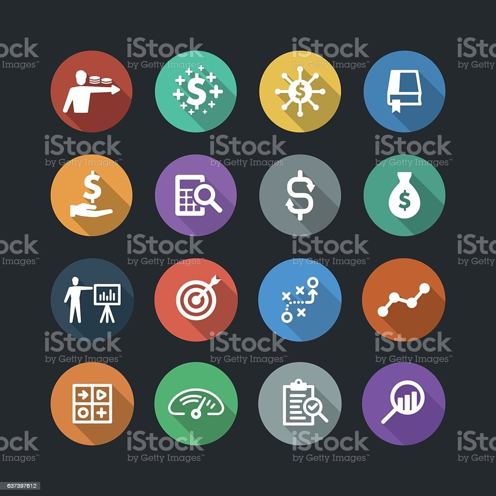 Finance and analysis flat icons - ilustración de arte vectorial