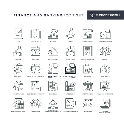 29 Finance and Banking Icons - Editable Stroke - Easy to edit and customize - You can easily customize the stroke with