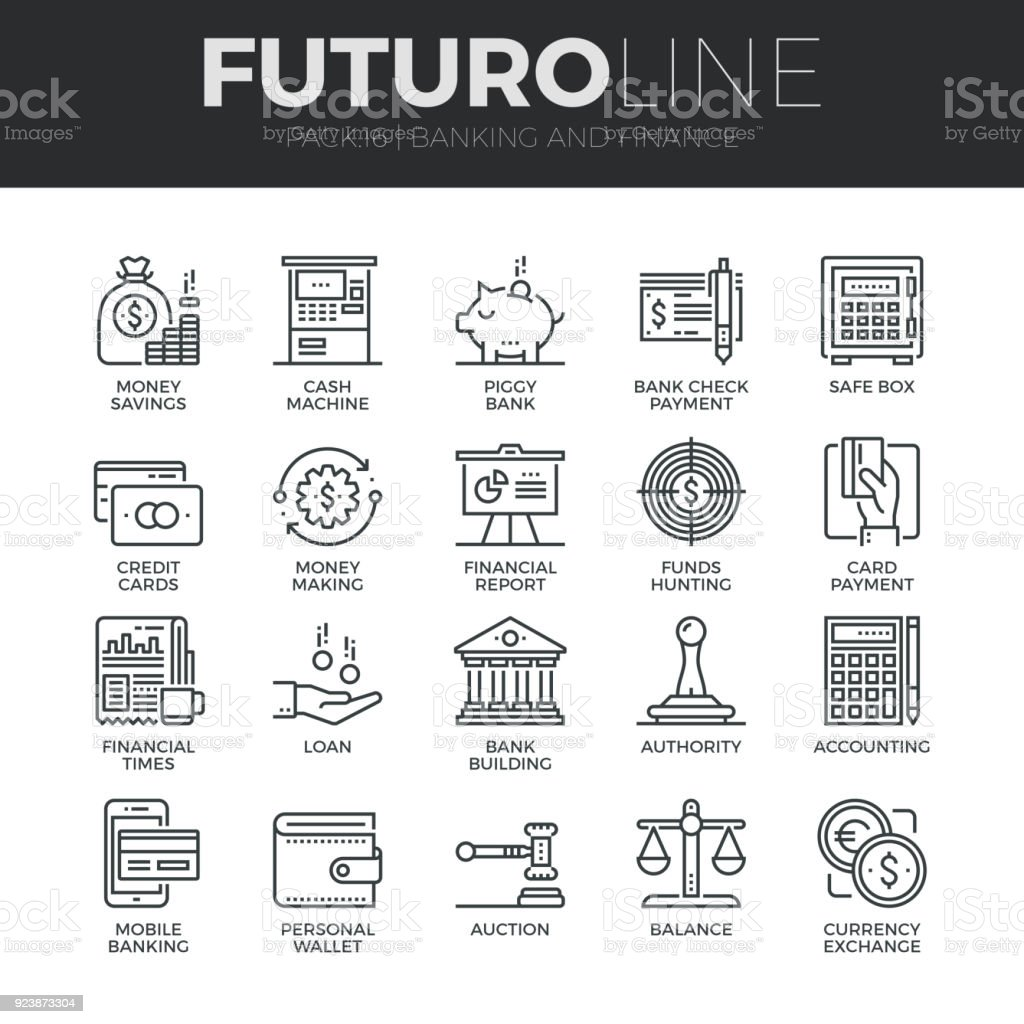 Finance and Banking Futuro Line Icons Set vector art illustration