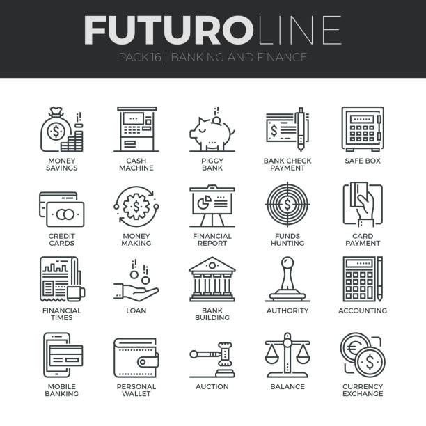finance und banking futuro linie icons set - geldautomat stock-grafiken, -clipart, -cartoons und -symbole