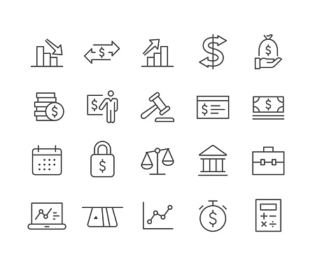 Finance and Banking Icons Set - Classic Line Series