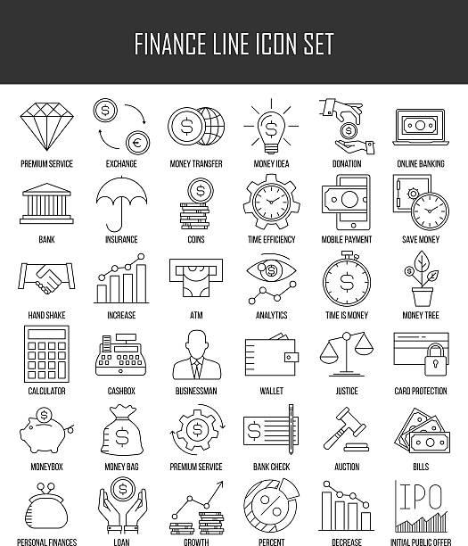 ilustrações, clipart, desenhos animados e ícones de conjunto de ícones de bancos e finanças  - banco edifício financeiro