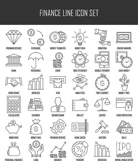 Finance and banking icons set Modern thin line icons set of finance, investment, banking and money. Premium quality outline symbol collection. Simple mono linear pictogram pack for web graphics. Wallet, moneybox, coins and others. budget symbols stock illustrations