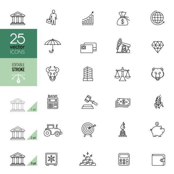 Finance and Banking Line Icon Set. Editable Stroke. vector art illustration