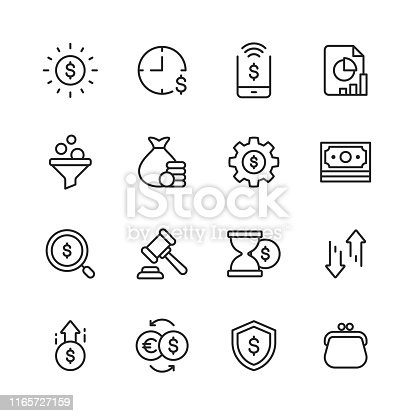 16 Finance and Banking Outline Icons.