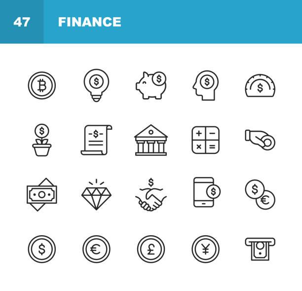 금융 및 뱅킹 라인 아이콘. 편집 가능한 스트로크입니다. 픽셀 완벽한. 모바일 및 웹용. 돈, 금융, 은행, 동전, 차트, crytpocurrency, 비트 코인, 돼지 저금통, 은행, 다이아몬드와 같은 아이콘이 포함� - 가격 stock illustrations