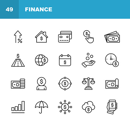 Finance and Banking Line Icons. Editable Stroke. Pixel Perfect. For Mobile and Web. Contains such icons as Money, Finance, Banking, Coins, Chart, Real Estate, Personal Finance, Insurance, Balance, Global Finance.