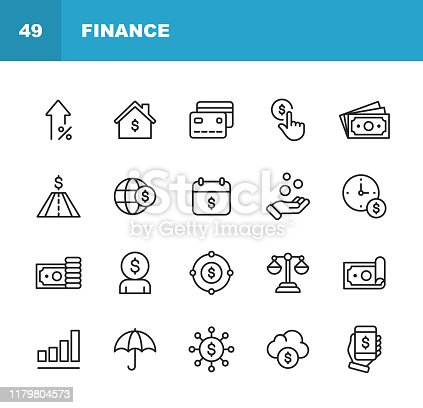 20 Finance and Banking Outline Icons.