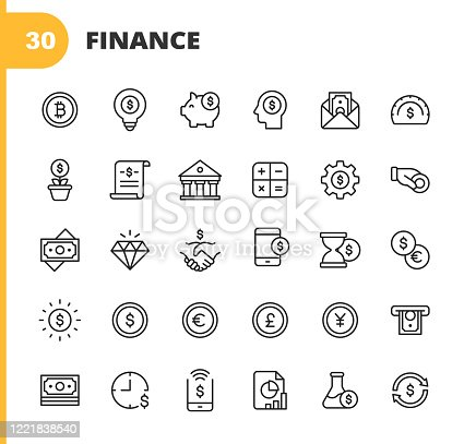 30 Finance and Banking Outline Icons.