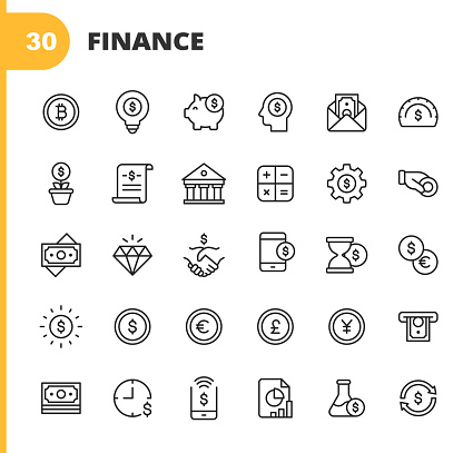 Finance and Banking Line Icons. Editable Stroke. Pixel Perfect. For Mobile and Web. Contains such icons as Money, Finance, Banking, Coin, Chart, Cryptocurrency, Bitcoin, Piggy Bank, Bank, Diamond, ATM, Dollar, Stock Market, Investment, Bank, Handshake.