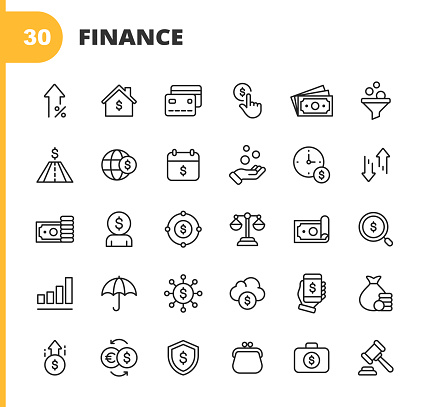 Finance and Banking Line Icons. Editable Stroke. Pixel Perfect. For Mobile and Web. Contains such icons as Money, Finance, Banking, Coin, Chart, Real Estate, Personal Finance, Insurance, Auction, Currency Exchange, Stock Market, Cryptocurrency, Dollar.