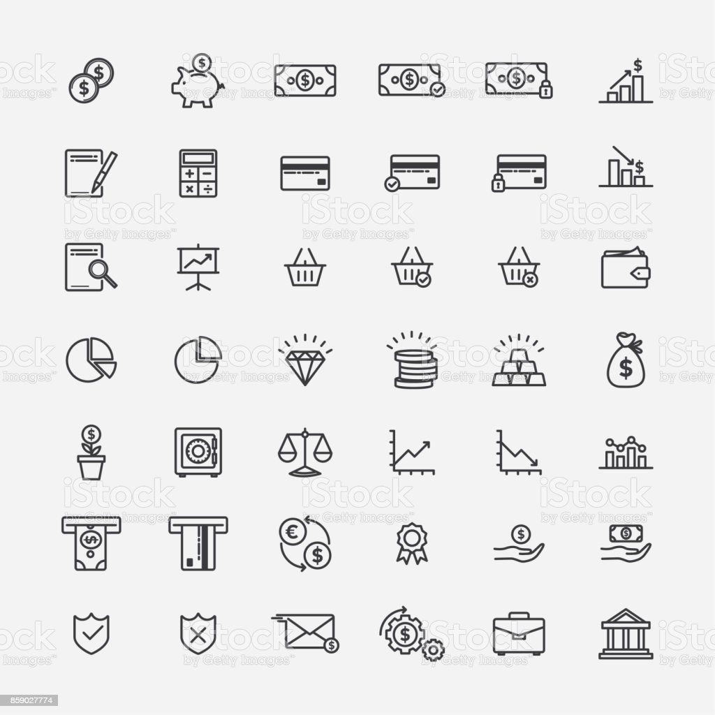 Finance and banking lineart icons