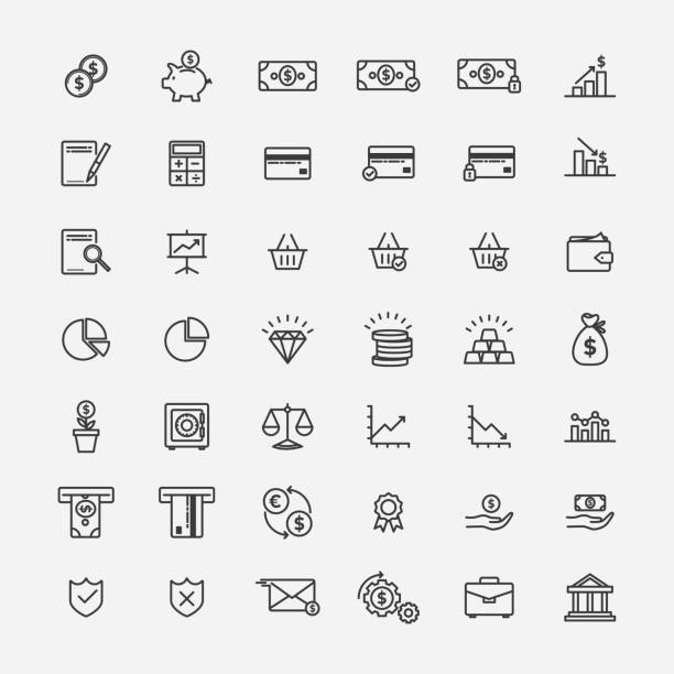 Finance and banking lineart icons vector art illustration