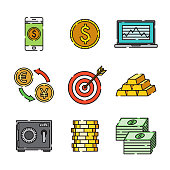 A set of 25 color thin line Finance and Banking icons. File is built in the CMYK color space for optimal printing, and can easily be converted to RGB. Color swatches are global for quick and easy color changes throughout the entire set of icons.