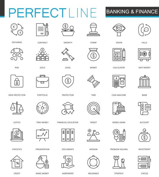 Finance and Banking thin line web icons set. Outline stroke icon design. Finance and Banking thin line web icons set. Outline stroke icon design conceptual symbol stock illustrations
