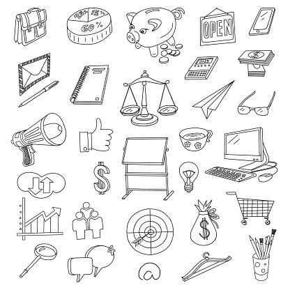 Finance and Business Doodles Set