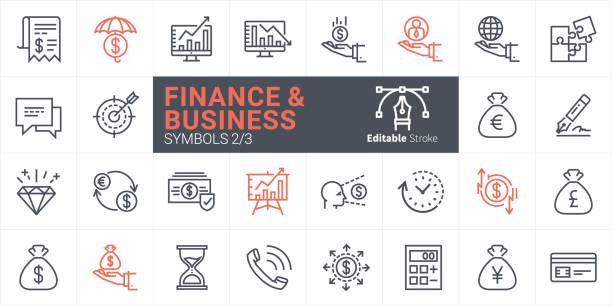 Finance and Business Vector icon Finance and Business Vector icon change purse stock illustrations