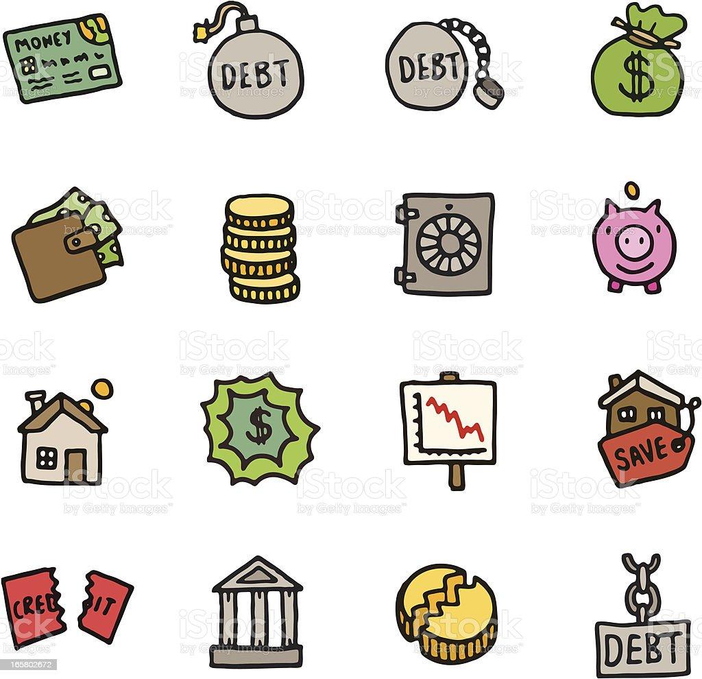 Finance and debt doodle icon set vector art illustration