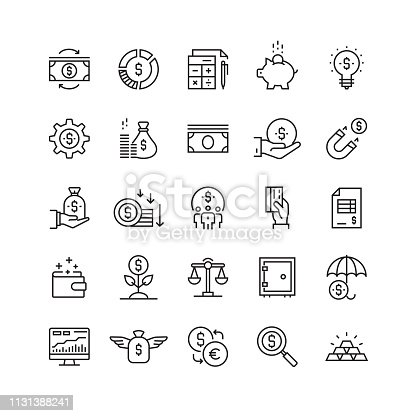 Finance and Economy Related Vector Line Icons