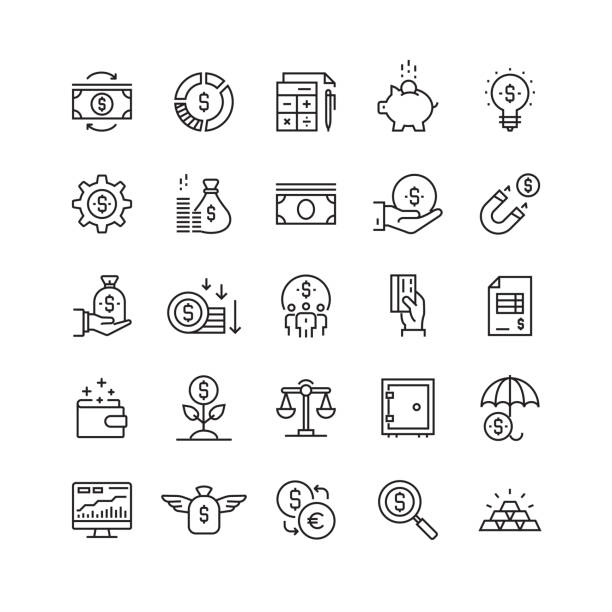 Finance and Economy Related Vector Line Icons Finance and Economy Related Vector Line Icons expense stock illustrations