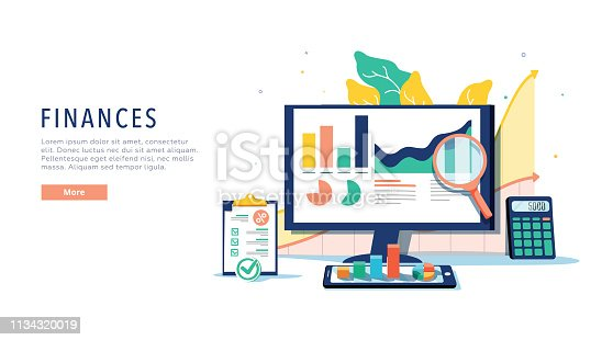 istock Finance and innovative mobile technology concept. Isometric vector of financial apps and services on laptop and modern 1134320019