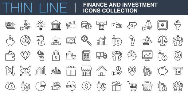 kolekcja ikon finansów i inwestycji - produkować stock illustrations