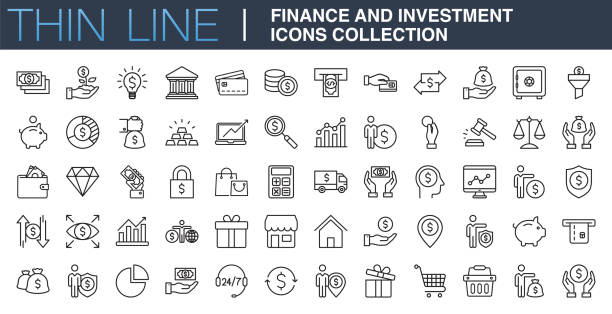 illustrazioni stock, clip art, cartoni animati e icone di tendenza di finance and investment icons collection - icons