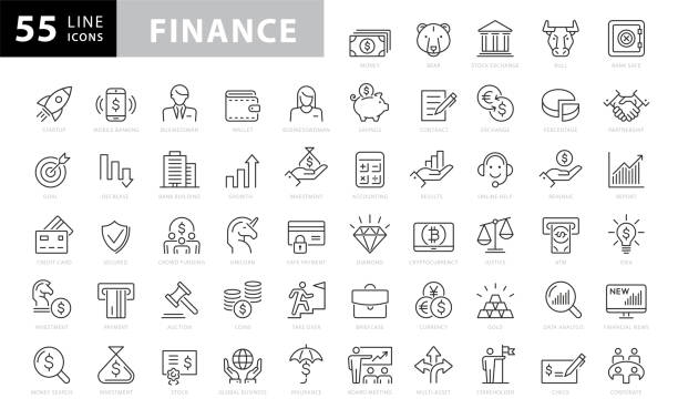 finance and investment icons collection - business stock-grafiken, -clipart, -cartoons und -symbole