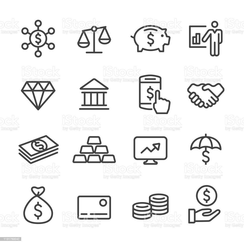 Ícones da finança e do investimento-linha série - Vetor de Aplicação móvel royalty-free