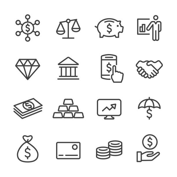 finance and investment icons - line series - waga opis fizyczny stock illustrations