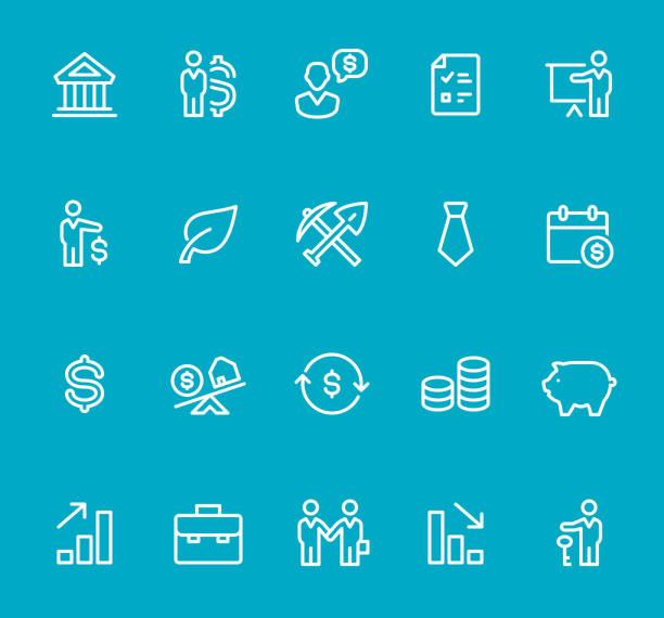 finanzen und investment - line-icon-set - schlüsselfertig stock-grafiken, -clipart, -cartoons und -symbole
