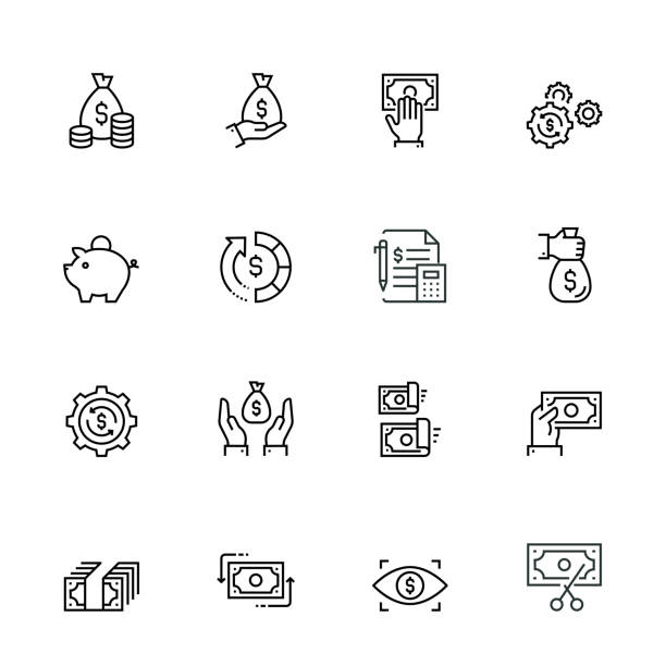 Finance And Money Icon Set Simple Set of Finance Related Color Vector Line Icons. Contains such Icons as Crowd Funding, Money Flow, Money Management, Investment Strategy and more. Editable Stroke. 32x32 Pixel Perfect. cash flow stock illustrations