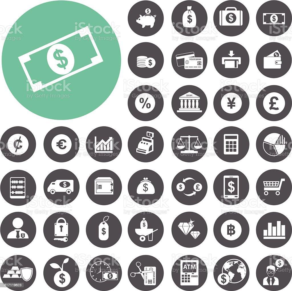 Finanzen und Geld-icon-set.  Vektor-Illustration eps10 – Vektorgrafik