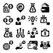 Elegant Business And Financial Icons Set.