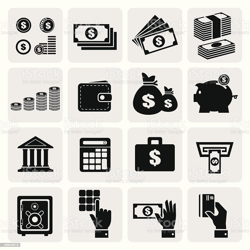 Finance and money icons set vector art illustration