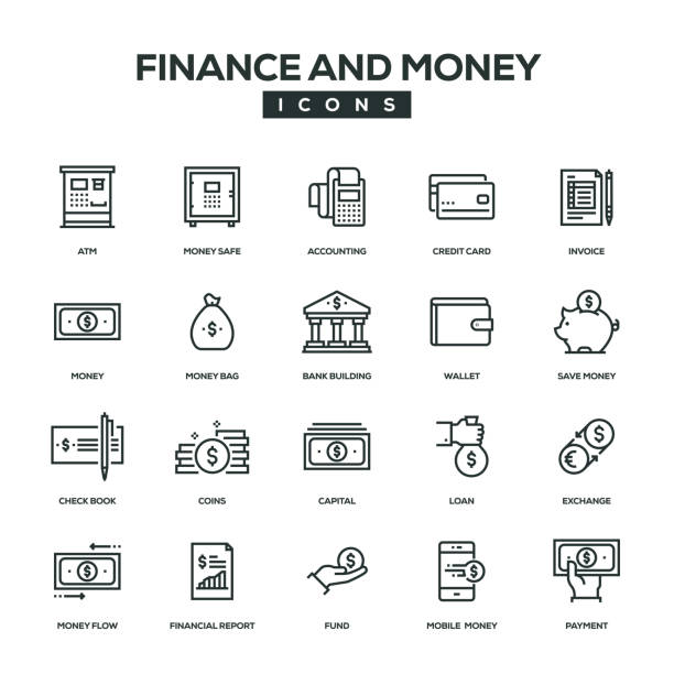 Finance And Money Line Icon Set Finance And Money Line Icon Set safety deposit box stock illustrations