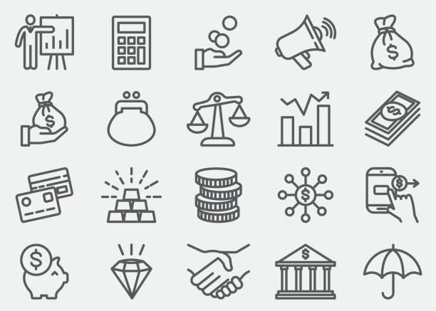 ilustrações, clipart, desenhos animados e ícones de finanças e dinheiro linha ícones - banco edifício financeiro