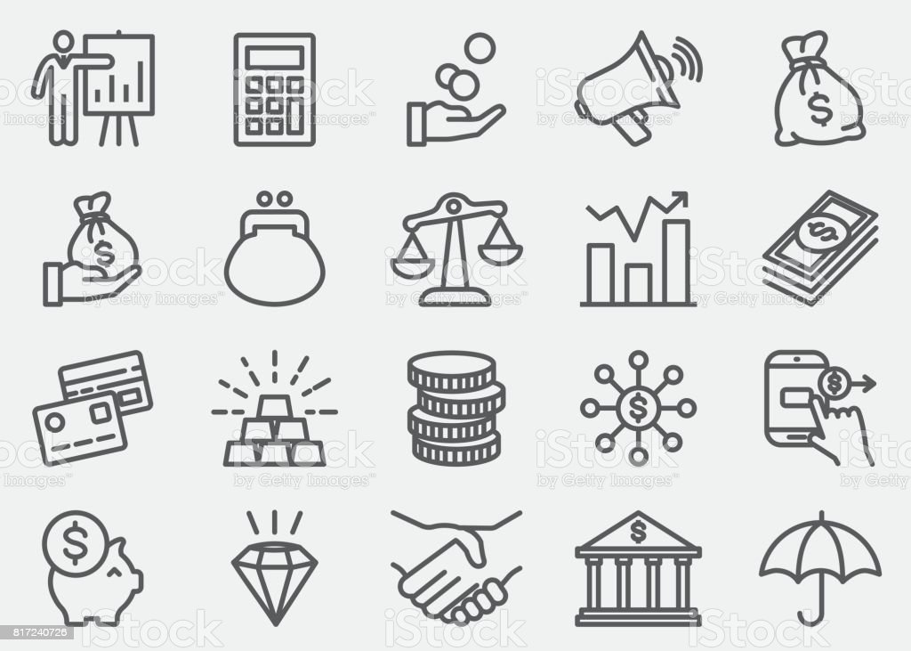 Finance And Money Line icons – artystyczna grafika wektorowa