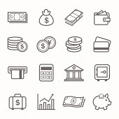 Finance and money outline stroke symbol vector icons