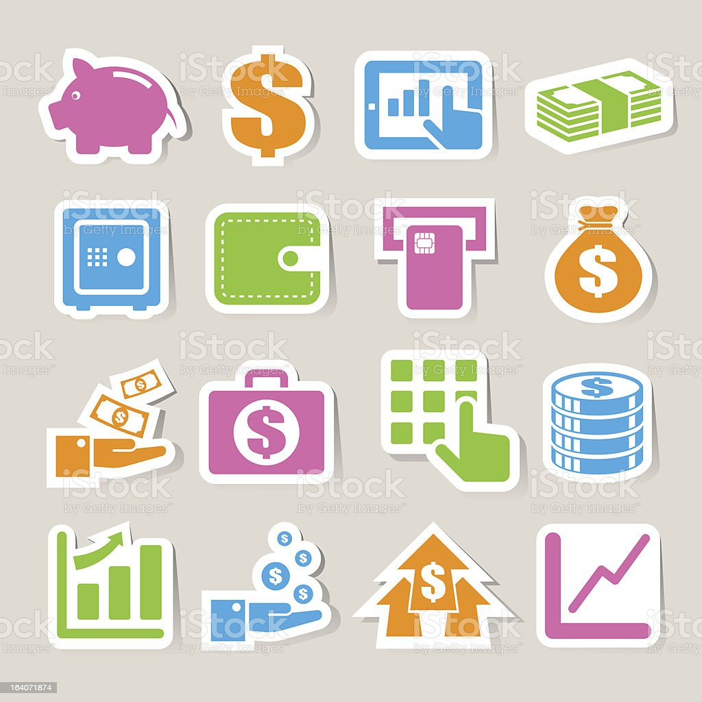 Finance and money  sticker icon set. royalty-free stock vector art