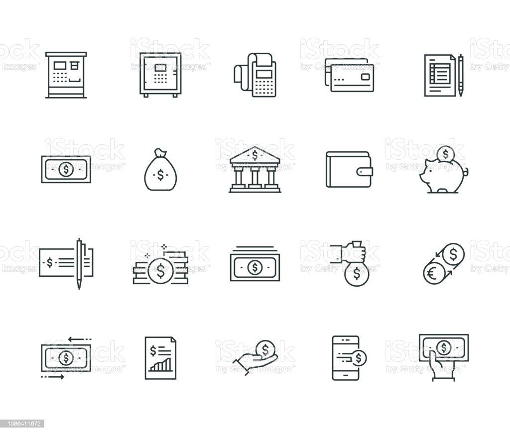 金融・お金の細線シリーズ - アイコンのロイヤリティフリーベクトルアート