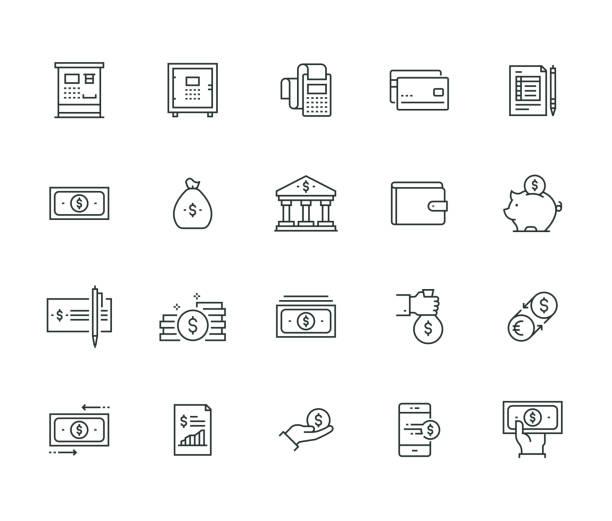 ilustrações, clipart, desenhos animados e ícones de série de linha fina de finanças e dinheiro - banco edifício financeiro