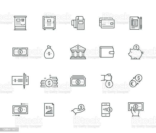 金融お金の細線シリーズ - アイコンのベクターアート素材や画像を多数ご用意